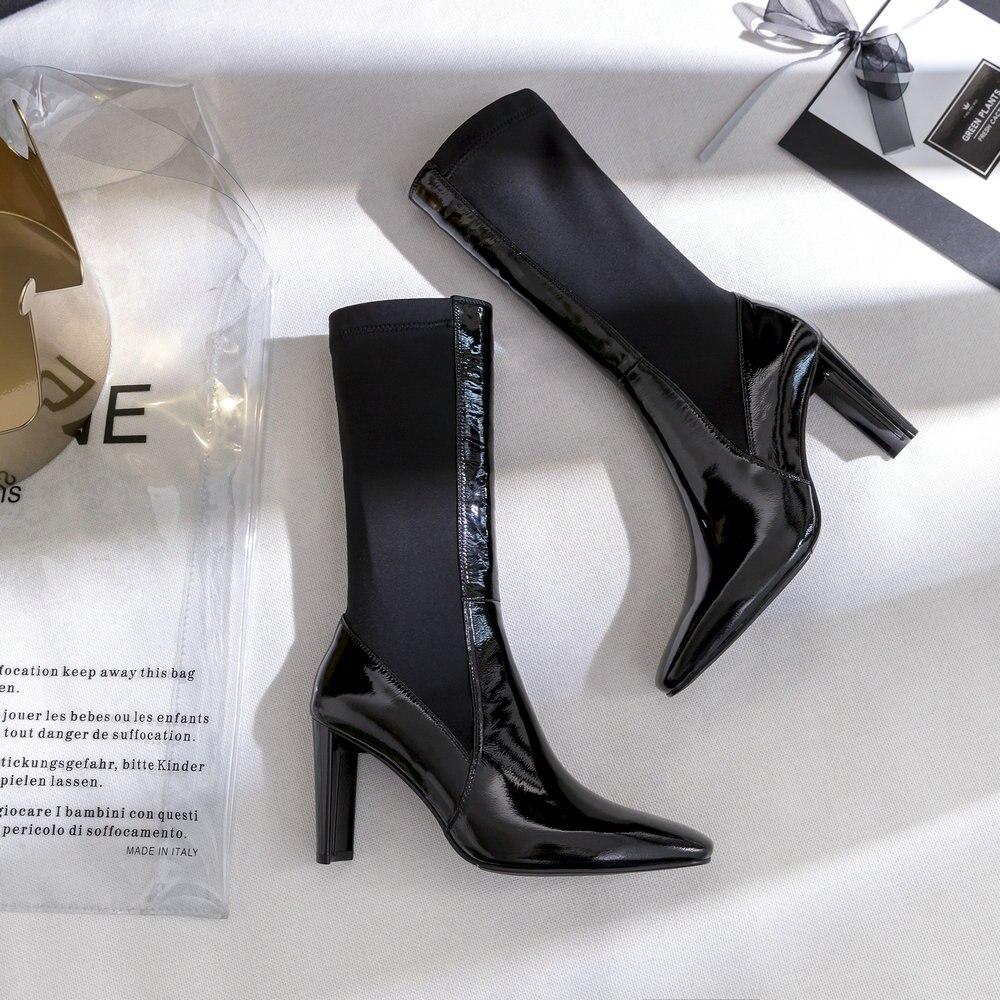 Moitié Genou Femmes Black Talon Carré Bottes Bottines Épais Talons Boot Toe Slip Femme mollet Aiweiyi Haute Noir Pour Sur Chaussures Mi I6xqwOBBS