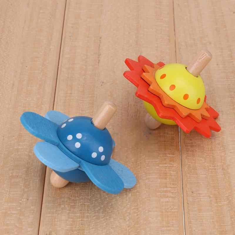 Kids Wooden Toys Flower Rotate Spinning Top Wooden Classic Toys For Chidren Kids Develop Intelligence Education Montessori Toys