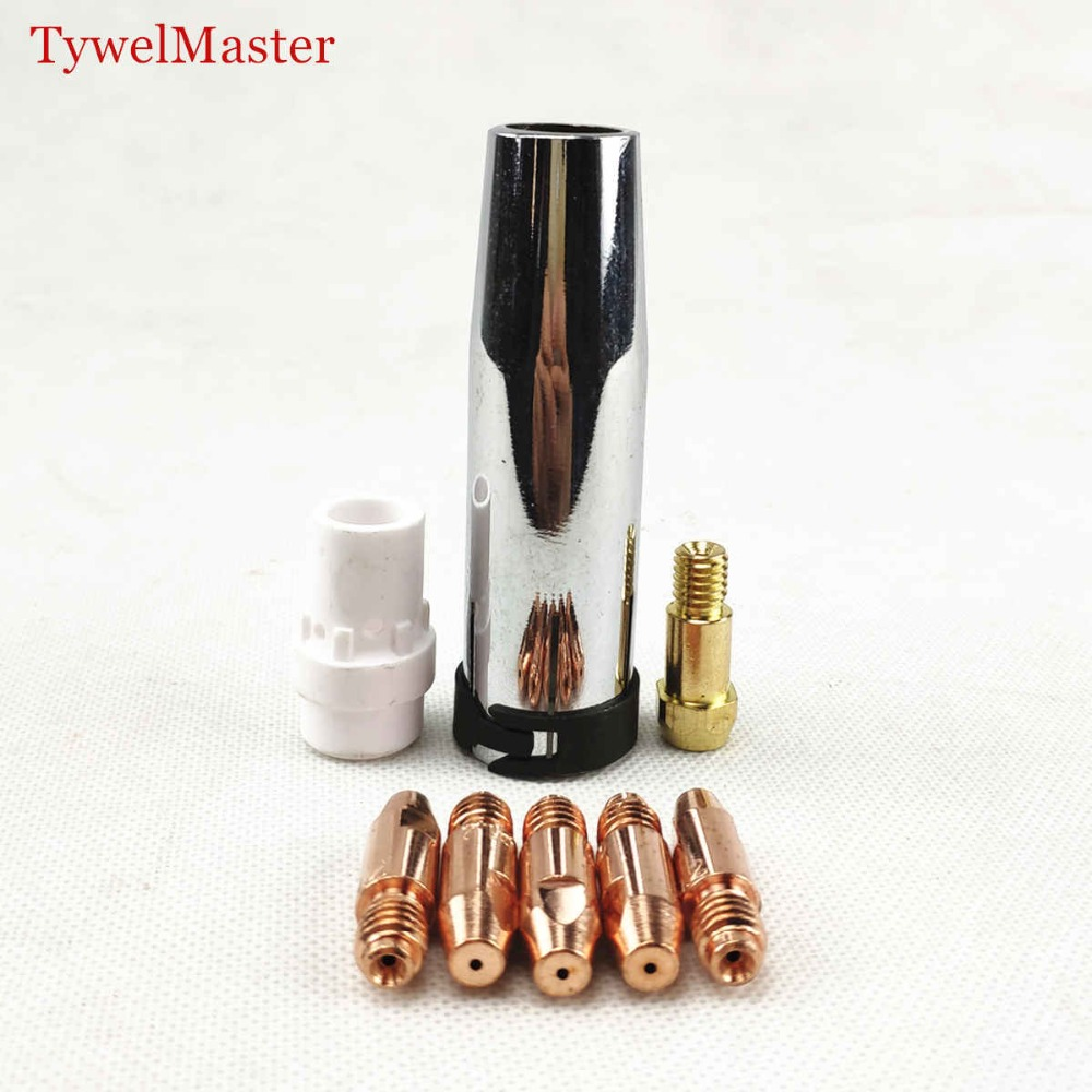 36KD Welding Torch Consumables 8pcs 0.8mm 1.0mm 1.2mm MIG Torch Gas Nozzle Tip Holder Gas Diffuser For MIG MAG Welding Machine