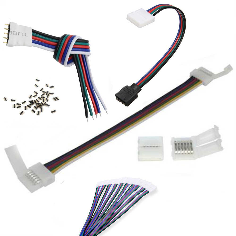 4pin 5pin 6pin 10mm 12mm RGB RGBW RGB + CCT câble sans soudure PCB connecteur clip adaptateur câble pour 3528 5050 LED lumière de bande 5 pièces