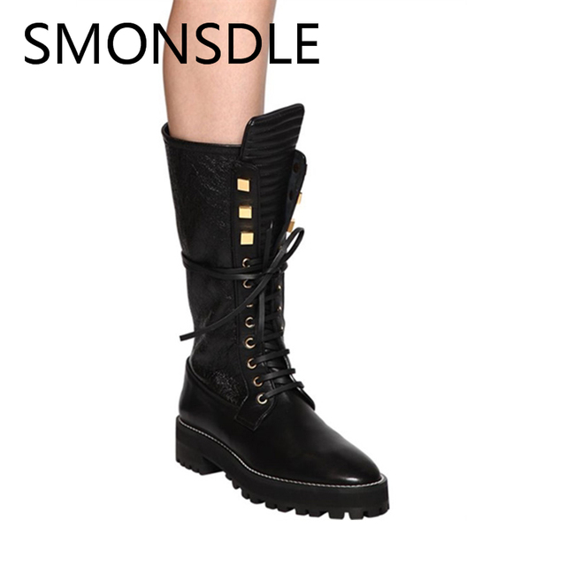 SMONSDLE New Fashion Autumn Winter Women Mid-calf Boots Black Genuine Leather Round Toe Lace Up Women Boots Tide Shoes Woman