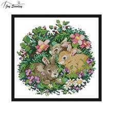 Joy Sunday Three Little Rabbits 11ct Printed Cross Stitch Kit 14ct Aida Fabric Canvas Embroidery DMC DIY Hand Needlework Set