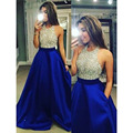 Royal Blue A-line Long Prom Dresses 2017 Crystal With Pocket Top Robe De Soiree Vestido Longo Sexy Open Back Party Dresses