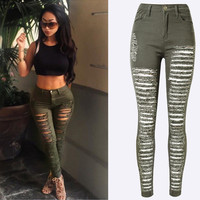 Women S Destroyed Ripped Army Green High Waisted Denim Skinny Pants Hole Stretch Trousers Slim Jeans