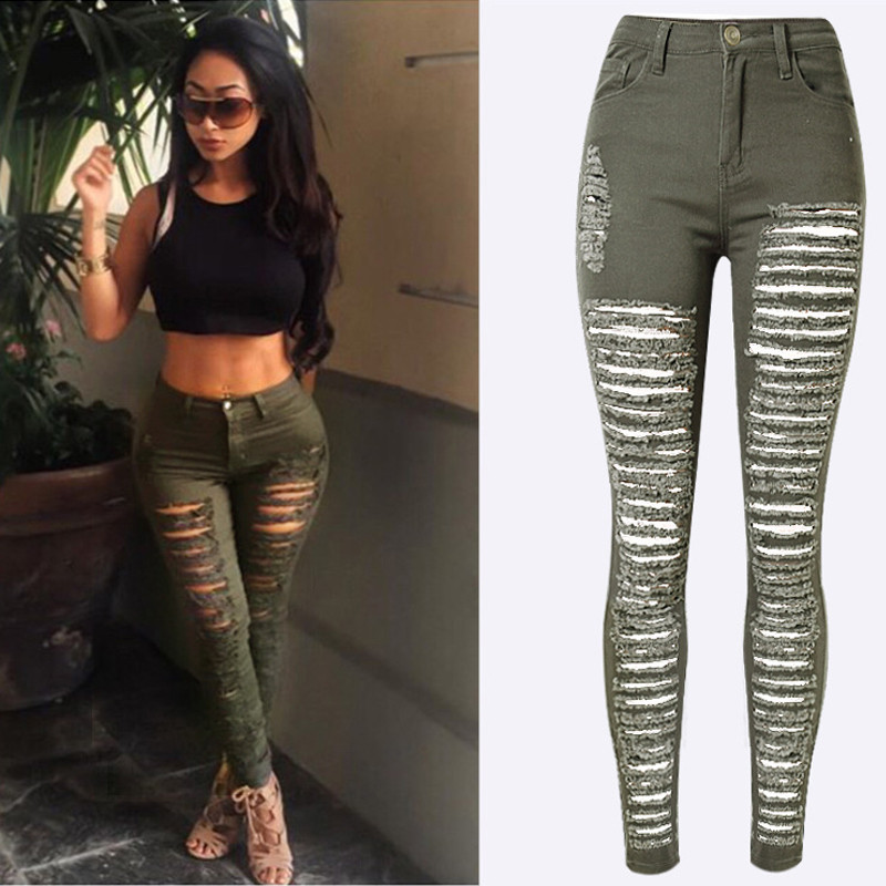Aliexpress.com : Buy Olrain Women's Destroyed Ripped Army ...