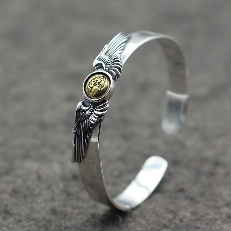Thai Silver Retro Takahashi Goro Old Eagle Men And Women Open Ended Bangle S925 Sterling Silver