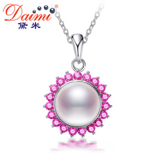 DAIMI Femme Pendant 8-9mm 100% Natural Freshwater Pearl Pendant Necklace With 925 Sterling Silver Chain Pendant Jewelry