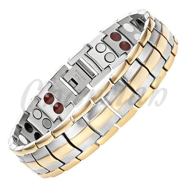 Channah MBS087T: 2017 Men 4in1 Joyas Bracelet 44pcs Magnets -ve Ions Germanium Infra Red Stainless Steel Gold Free Shipping