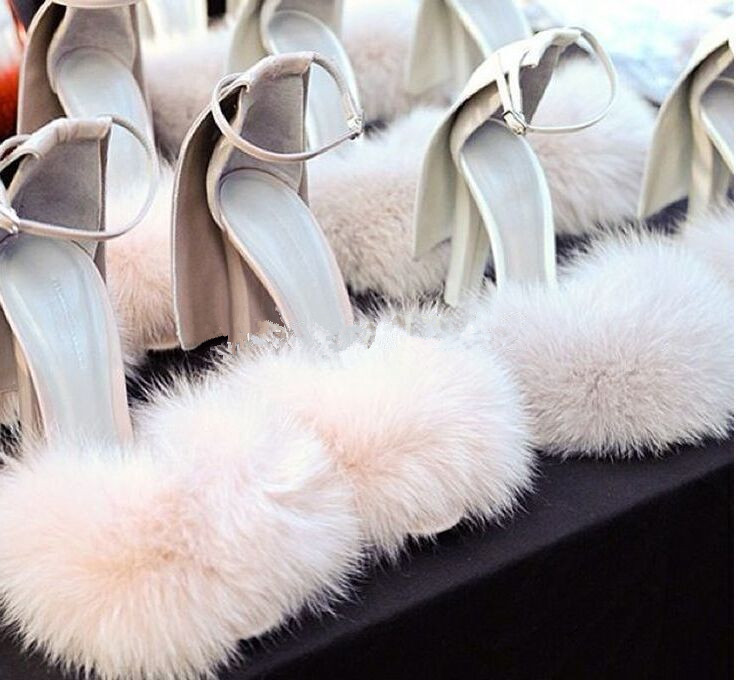 ФОТО hot selling sweet high heel fur sandals women covered heel fluffy ankle strap unique design fur dress shoes