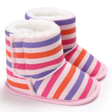Baby Girls Boots Warm Plush Toddler Winter Shoes Soft Bottom Knitted Cotton  Rainbow Striped Baby Booties. 3 Colors Available 42759ac8d8e1