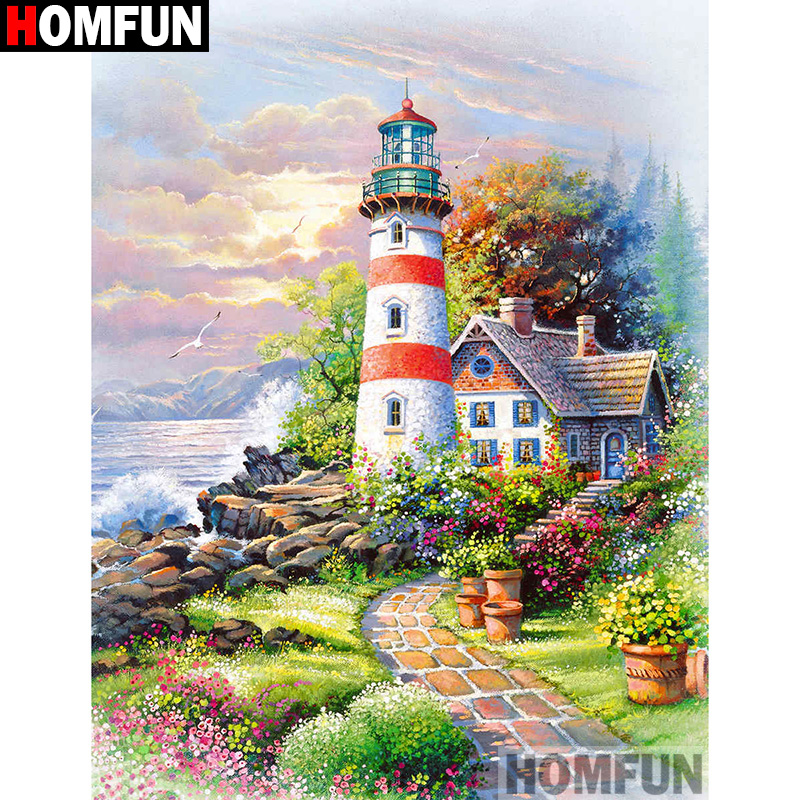 """HOMFUN полная квадратная/круглая дрель 5D DIY Алмазная картина """"маяк дом пейзаж"""" вышивка крестиком 3D домашний декор A10637"""