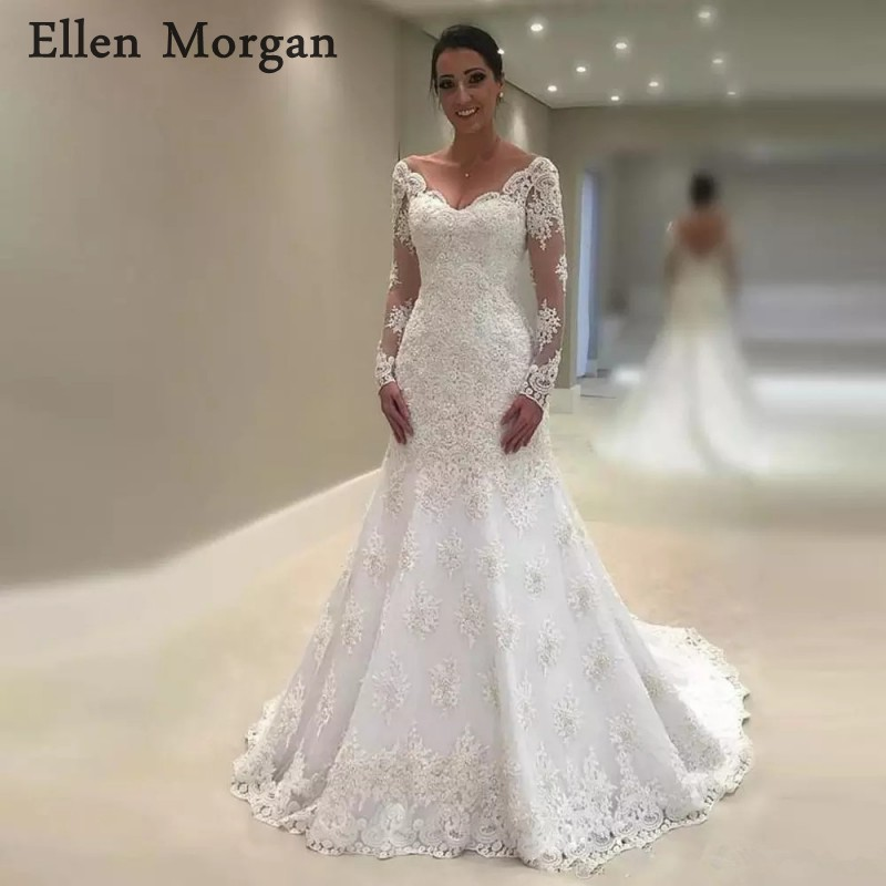 Long Sleeves Mermaid Wedding Dresses for Women 2019 Vestido De Noiva Off  Shoulder Summer Beach Lace 713e30e95399