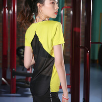 Fitness Breathable Sportswear Women Mesh Hollow T Shirt Sport Suit Yoga Top Quick Dry Running Shirt