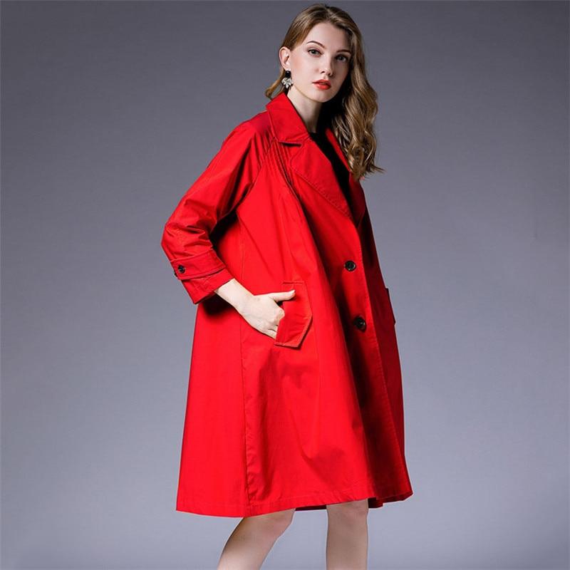 2019 spring Loose Plus Size Notched Full Sleeve Simple Fold Patchwork Thin Type Jacket New Fashion Female Coat Vestido YH145