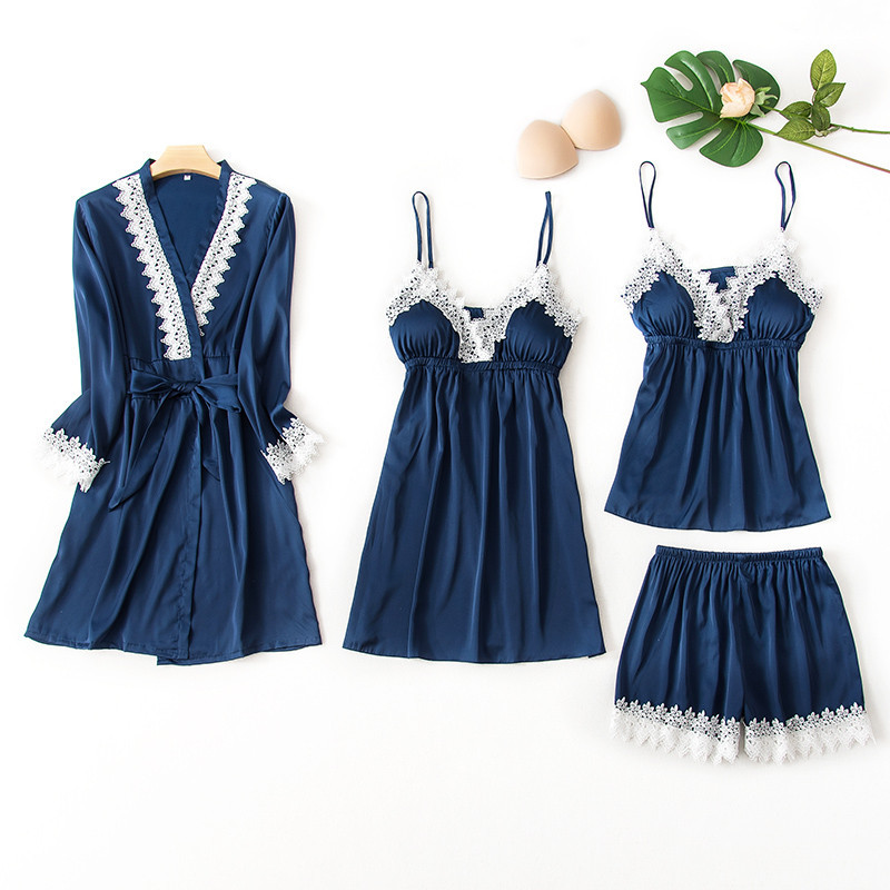 QWEEK 4 Piece   Sets   Sexy Lace   Pajamas     Set   Women Satin Lace Sling Sleeveless Pyjama Shirt Shorts Summer Robe Sleepwear Pijama