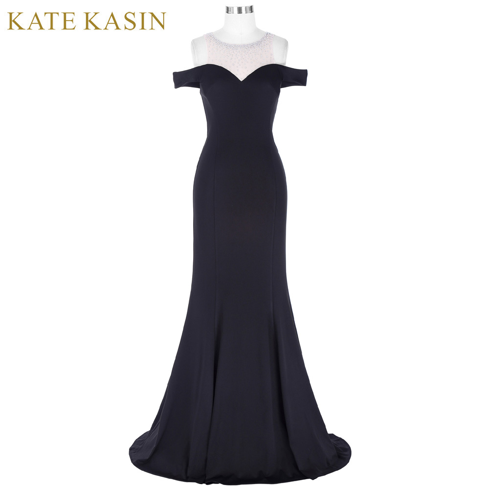 Kate Kasin Long Black Prom Dress Vestido de Festa Floor Length Party Gown Evening Dress Mermaid Prom Dresses 2018 with Beaded