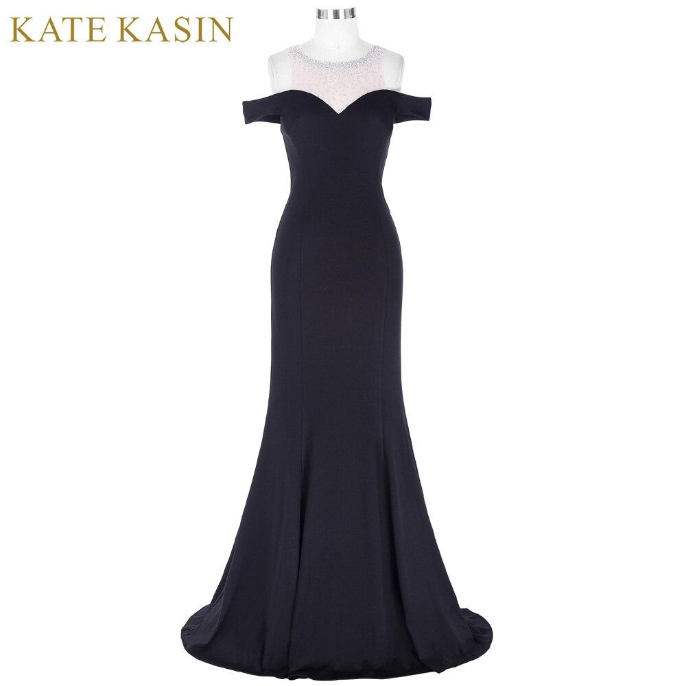 Kate Kasin Long Noir Robe De Bal Robe de Festa Étage longueur Parti Robe de Soirée Robe Sirène De Bal Robes 2018 avec perlé