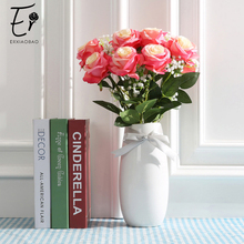 Erxiaobao 10 Pieces/Lot White Red Purple Pink Yellow Silk Fake Rose Artificial Flowers Wedding Home Decoration Accessories
