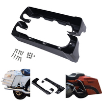 2PCS Black 4 Hard Stretched Saddle Bag Extensions For Harley Touring Electra Glide Road King Classic Luggage Holder Saddlebag