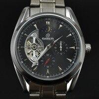 GOER Watch Men Full Steel Automatic Mechanical Watches Men Moon Phase Tourbillon Watch Men's Mechanical Watch Relogio Masculino