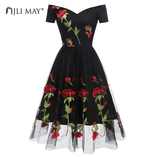 JLI MAY Off shoulder embroidery lace dress women mesh spring summer short  sleeve floral slash neck d26b6af443ae