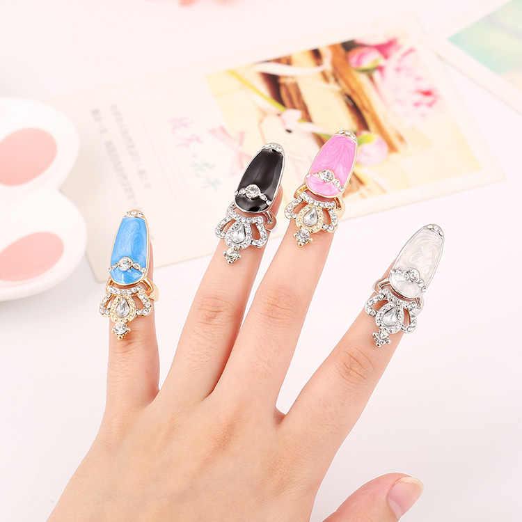 คริสตัลแฟชั่น Finger Nail Art แหวนผู้หญิง Golden Armour Joint แหวนเครื่องประดับสำหรับงานปาร์ตี้อุปกรณ์เสริมมือ 1R001