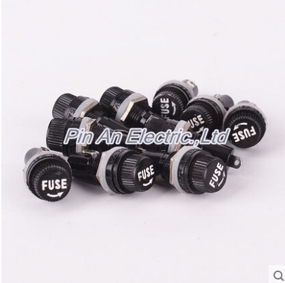 10pcs/lot 5*20mm Glass Fuse Holders 5x20 Black Insurance Tube Socket Fuse Holder For 5*20 Insurance Panel Mount Fuse Holder