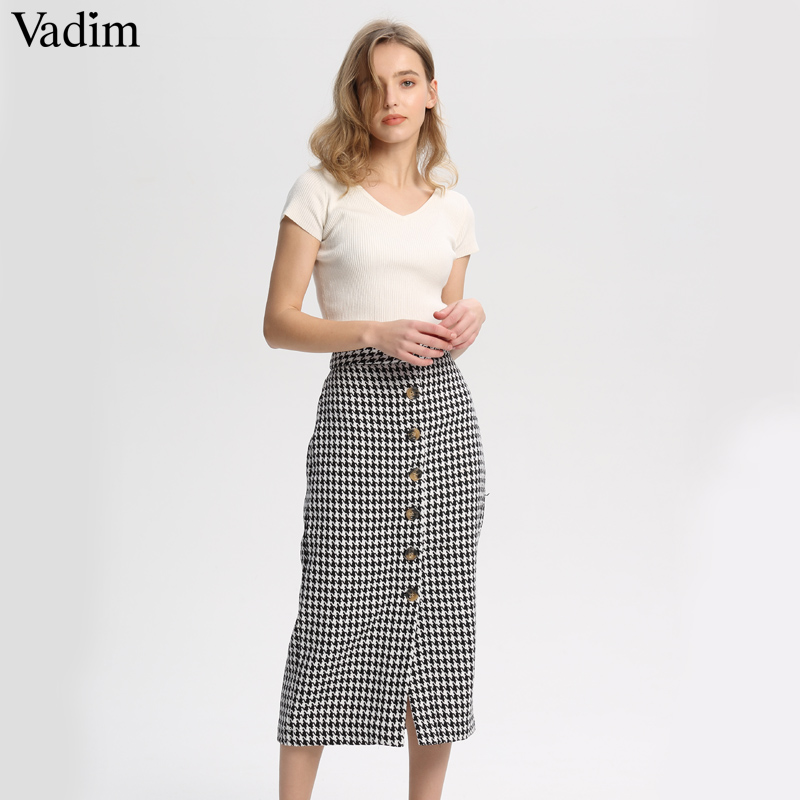 Vadim Midi Skirt Buttons Office-Wear Plaid Retro Vintage Houndstooth Casual Women Ladies
