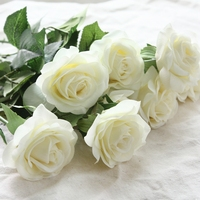 10 sztuk/zestaw Decor Rose Sztuczne Kwiaty Jedwabne Kwiaty Floral Latex Prawdziwe Dotykowy Róża Bukiet Ślubny Home Party Projekt Kwiaty