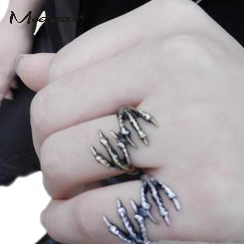 Meetcute Gothic Style Rings for Men Women Vintage Punk Jewelry Unisex Rock Skeleton Eagle Claw Skull Skeleton Ring Men Female