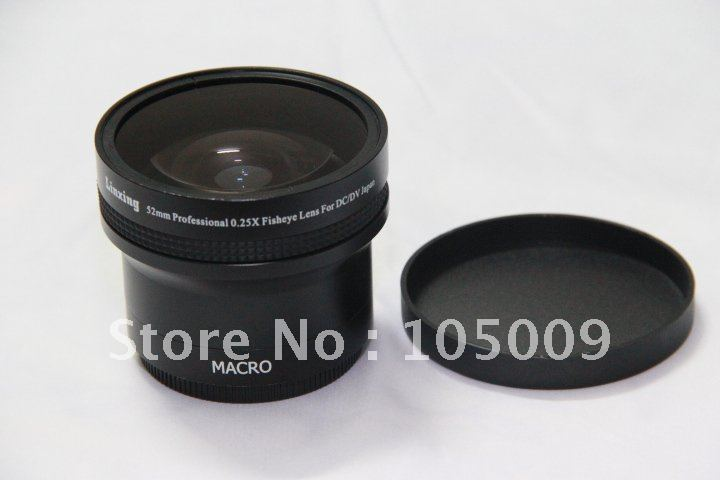 0.25x 52mm Wide FISH EYE Fisheye LENS with 12.5 Macro lens black 3 in 1 front rear camera fish eye macro wide angle lens for iphone 6 plus black red