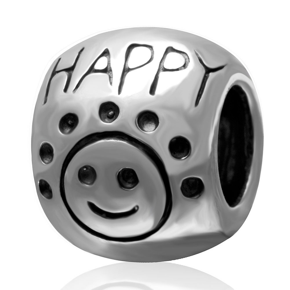 Fit Pandora Charms Bracelets Happy Face Charm Beads Authentic 925 sterling silver Jewelry DIY Making