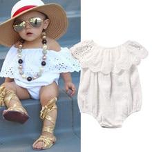 Хлопок, для новорожденных, для детей, милый, для маленьких девочек, кружевной, Цветочный, белый, летний, короткий рукав, комбинезон, цельная одежда, одежда