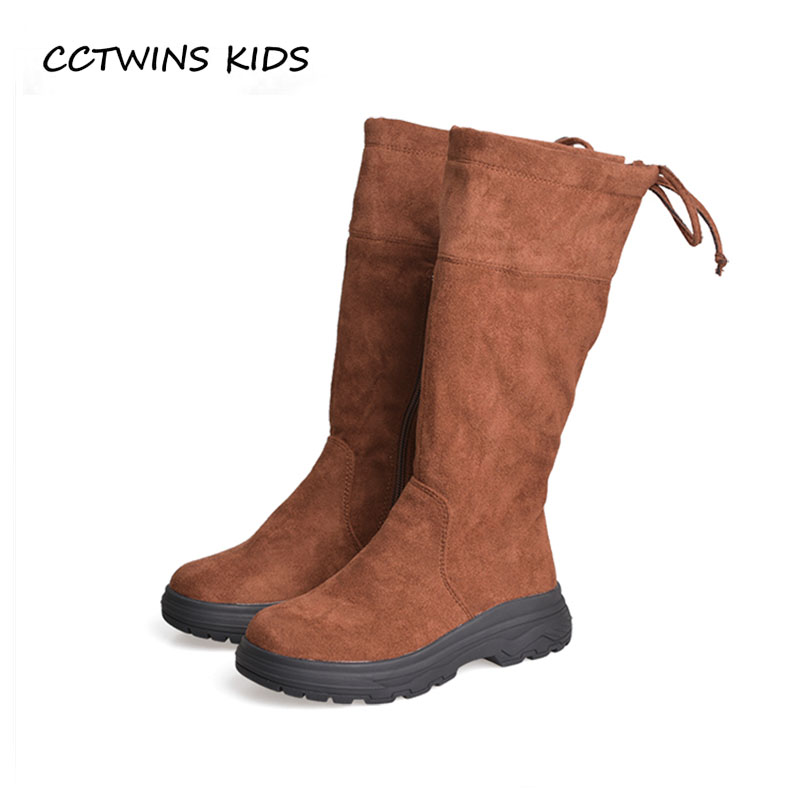 цена CCTWINS KIDS 2018 Winter Children Fashion Knee High Boot Baby Girl Genuine Leather Shoe Toddler Black Warm Boot H013