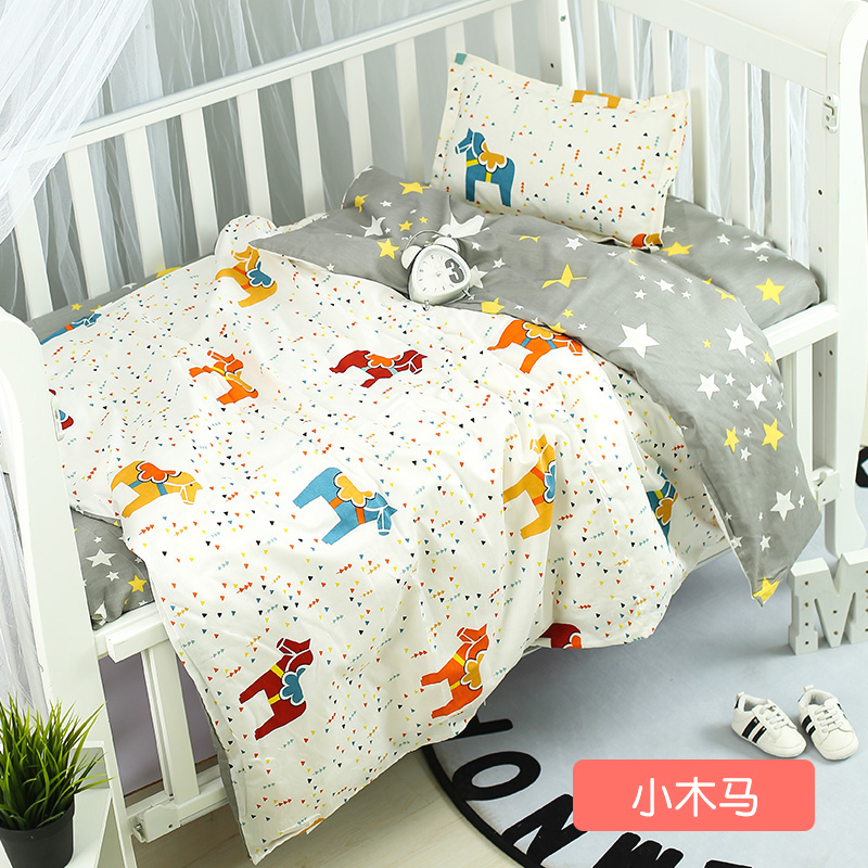 Us 27 41 40 Off 3pcs Set Cotton Baby Toddler Bedding Set Flat Sheet Duvet Cover Pillowcase Cartoon Pattern For Boys And Girls Cute Baby Bed Set In