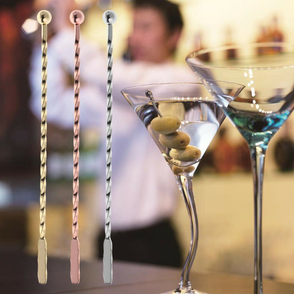GLASS AND STAINLESS STEEL COCKTAIL DRINKS BARWARE FRUIT STIRRERS