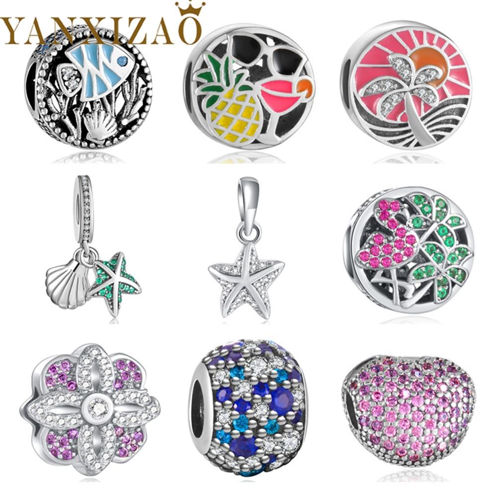 Sidabrinis sidabras 925 Europos CZ karoliukai, tinkami Pandora gyvūnų žvaigždės formos aksesuarai, spalvingi DIY papuošalai.