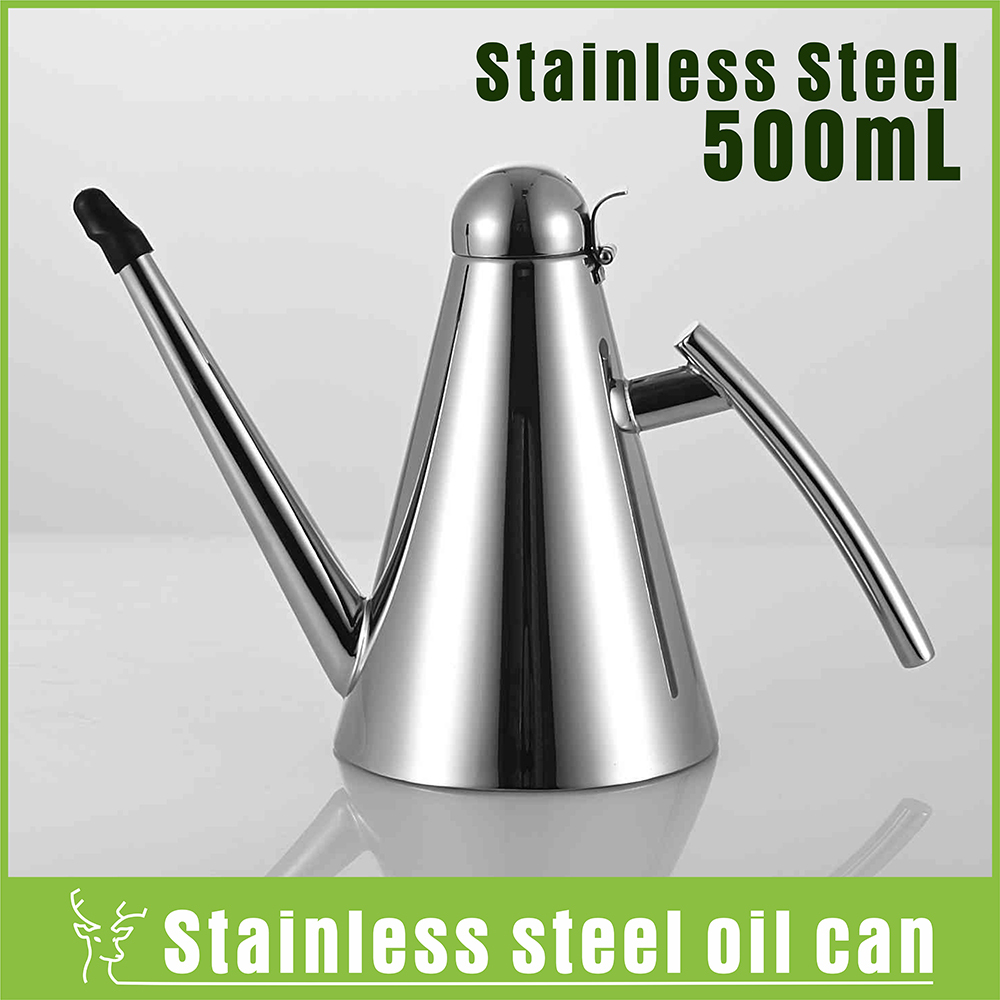 Nice Kitchen Bottle Oil Pot Cook Tool Stainless Steel Oil Cans Leak Proof  Seasoning Oil Container Cone Oiler Oil Pourer Bottle 500mL In Storage  Bottles U0026 Jars ...