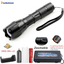 A17 XM-L L2 8000LM Aluminum Waterproof Zoomable CREE LED Flashlight Torch light for 18650 Rechargeable Battery or AAA