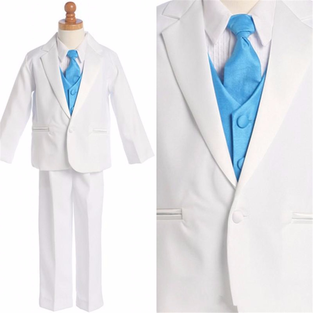 Boys Wedding Attire Children suits White Jacket Pants Blue Vest Kid Suits /Boy's Custom-made  suit boys Formal Dresses For Boys