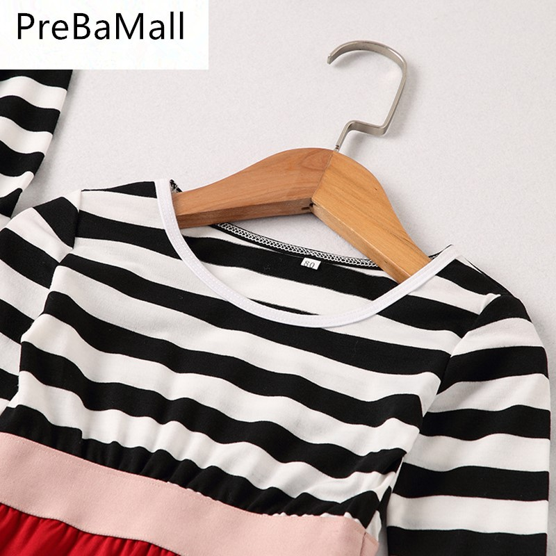 Mother Daughter Dresses Family Matching Outfits Stripe Long Sleeve Mommy Daughter Dress Family Look Matching Clothes Outfit C70 in Matching Family Outfits from Mother Kids