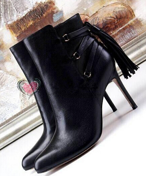 High quality black leather 10CM heels women ankle boots spring autumn round toe thin heels fringed boots women booties