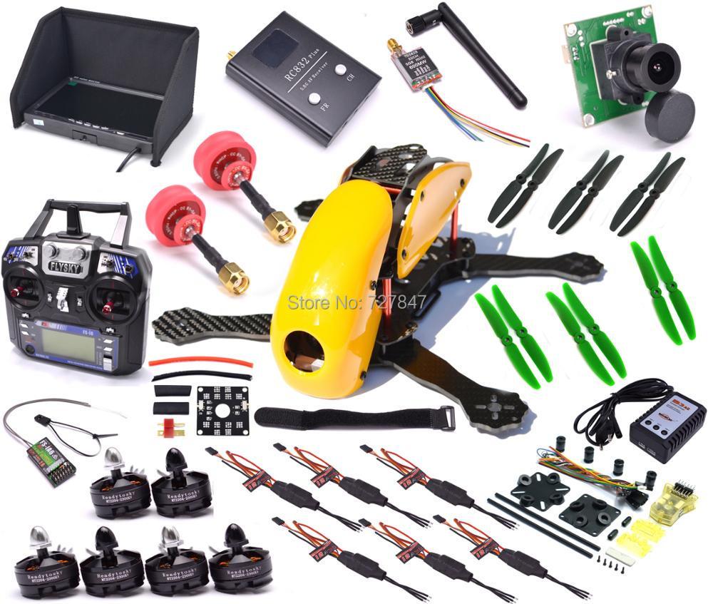 FPV 5.8G TX RX Full Set Carbon Fiber Robocat 270mm Quadcopter Mini CC3D controller Flysky I6 7inch Monitor B3 Charger Combo 2 х канальная аппаратура flysky gt2 tx rx combo с приемником 2 4g