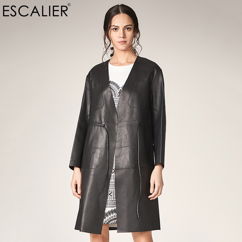 b52b2b522a16 ESCALIER Women Genuine Leather Trench 2018 New Arrive V-Neck Causal Trench Coat  For Women