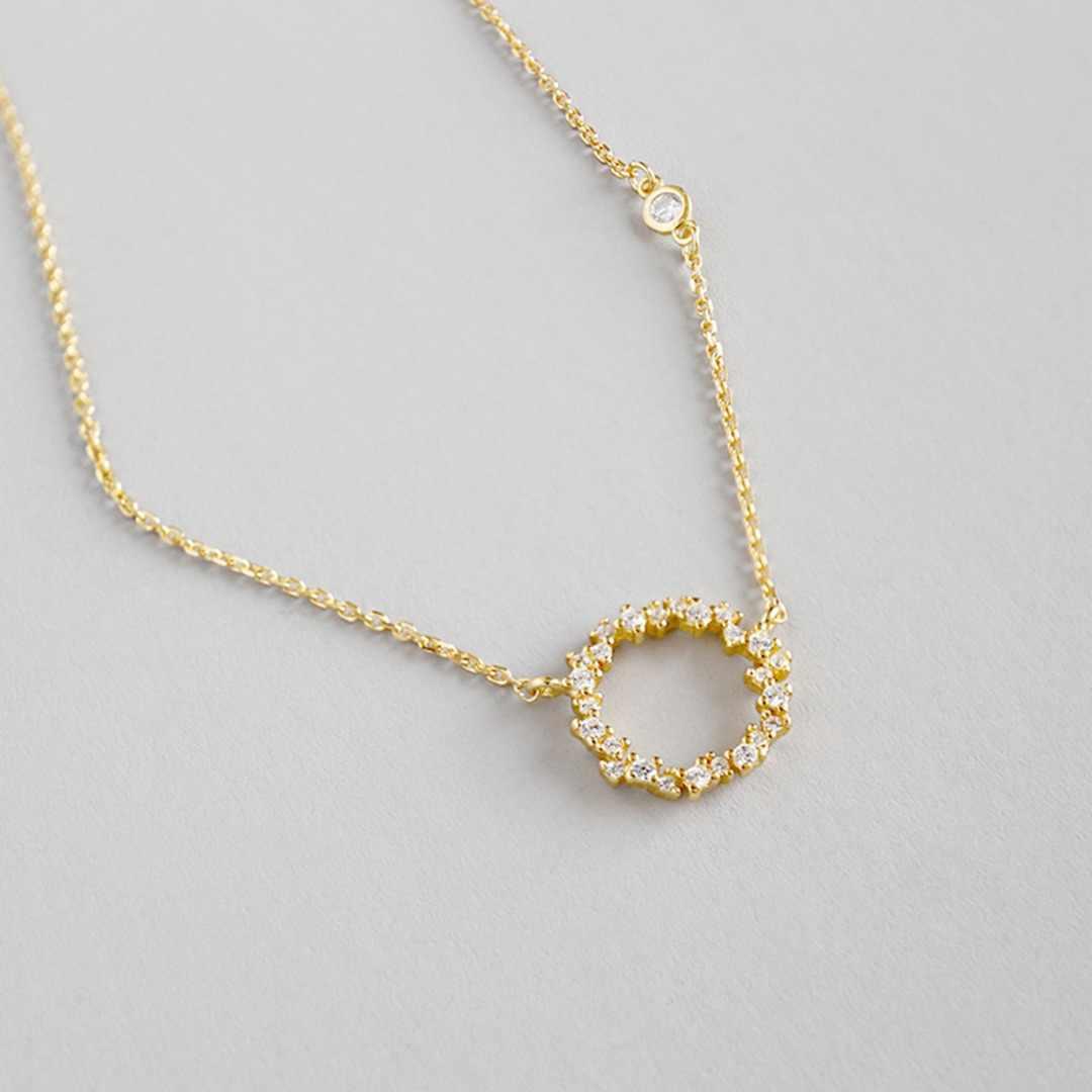 S925 стерлингового серебра полый круглый Циркон Подвеска на золотой цепочке трендовая простая массивная длинная цепь свадебный подарочный Шарм ювелирные изделия