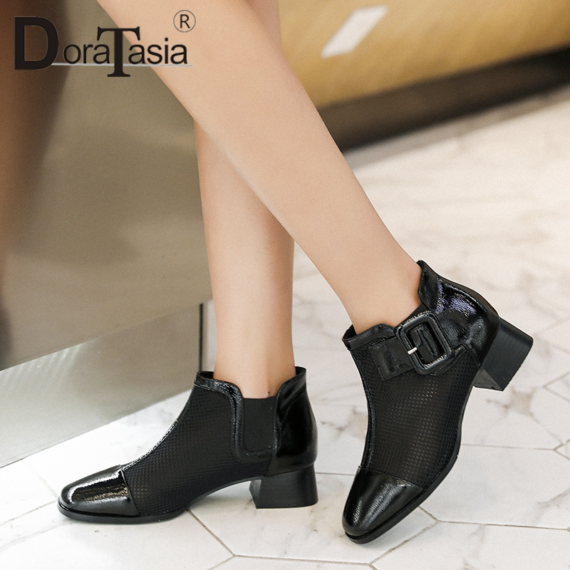 DORATASIA 2019 Hot Sale Size 34-40 Chunky Heels Slip On Summer Boots Female Shoes Woman Square Toe Ankle Boots Woman ShoesDORATASIA 2019 Hot Sale Size 34-40 Chunky Heels Slip On Summer Boots Female Shoes Woman Square Toe Ankle Boots Woman Shoes