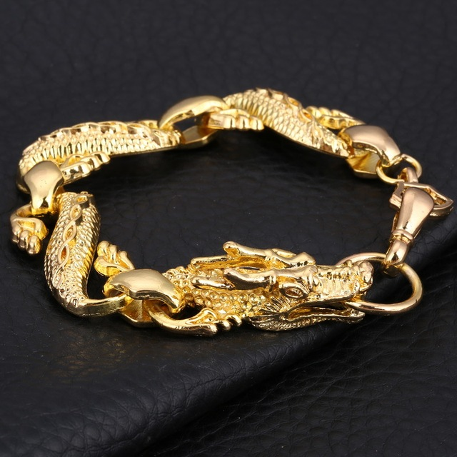 100 Gold Filled Dragon Bracelet Men Jewelry Stainless Steel Charm Bracelets Bangles Homme Link Chain
