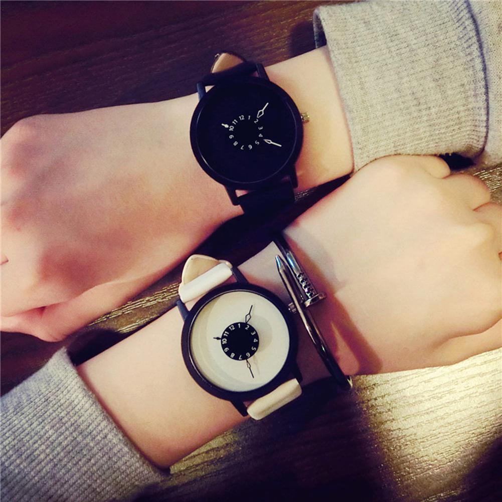 LinTimes Women Men Unisex Quartz-watch Unique Dial Design Lovers' Watch Leather Wristband Clock