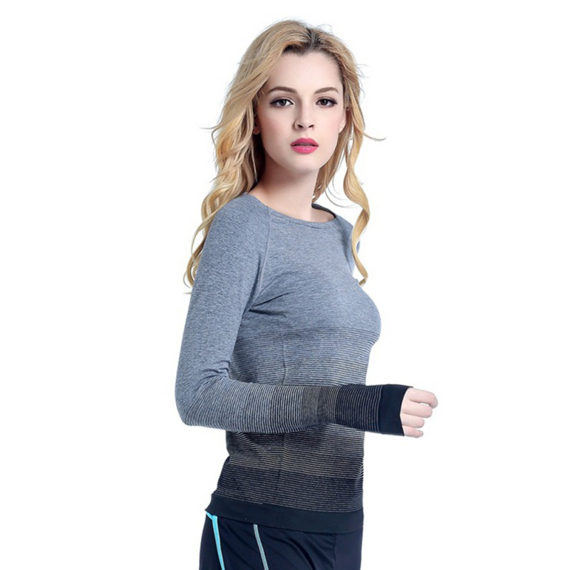 Women T Shirts Gradient Colors Casual Dry Quick Absorbent T Shirt Long Sleeve Tees Tops in T Shirts from Women 39 s Clothing