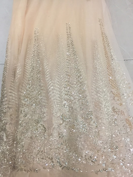 10 yards bzh002 champange gold  glued sparkle glitter mesh net tulle lace fabric for india african sawing /evening dress